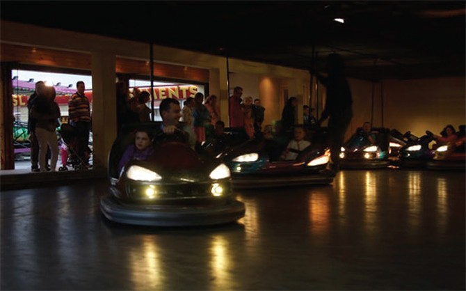 Parents & Children on the bumping cars @ the Bundoran Adventure Park
