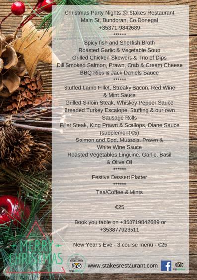 Stakes Christmas menu 2017