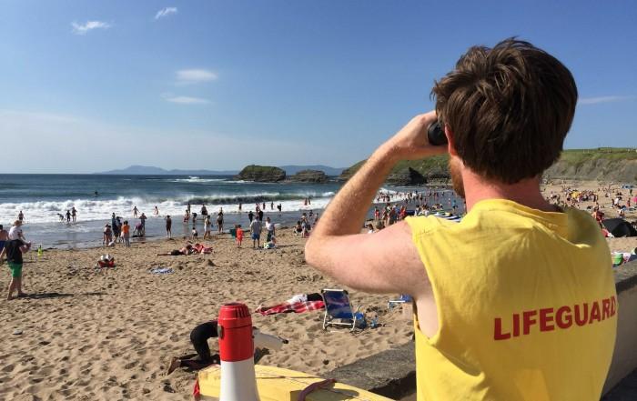 Head Lifeguard Brian keeps an eye on everyone on Main Beach