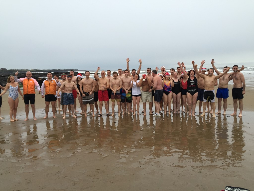 The brave souls ahead of the 2015 Christmas Day Swim!