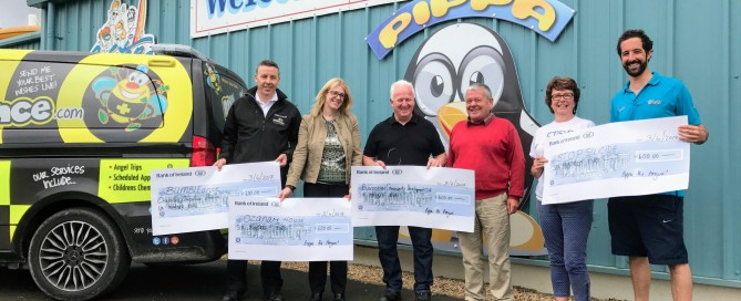 The recipients of last year's charity day with Anderson Keys, Tom Losey and Frankie O'Gorman of Waterworld Bundoran
