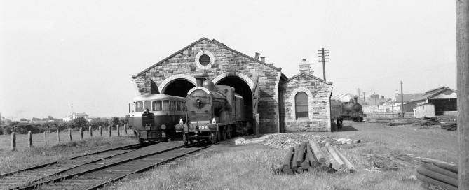 The Bundoran Express sits in the shed at Bundoran Station in the late 1950s - photo Neil Sprinks copyright Charles P Friel Negative Archive