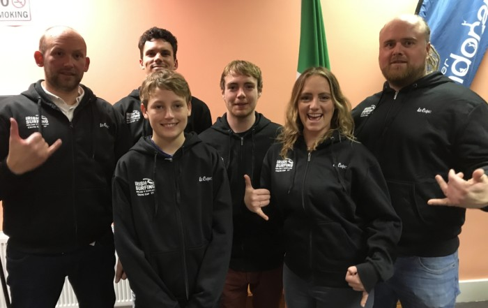 Representing Bundoran Board Riders L-R Emmet O'Doherty, Ronan Oertzen-McGettigan, Eoin Lally, Conor Maguire, Shauna Ward and Joe Stapleton