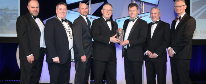 Pictured receiving the Chambers Ireland Excellence in Local Government Award 2017 for Festival of the Year is Cathaoirleach Cllr Gerry McMonagle, Daniel Browne, Sea Sessions Surf & Music Festival, Seamus Neely, Chief Executive, Donegal County Council and Shane Smyth, Donegal Tourism Ltd.