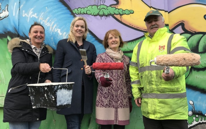 Joanne Fergus, Gina Witherow, Rosaleen O'Keefe and Micheal McMahon getting in the spirit for February 17th
