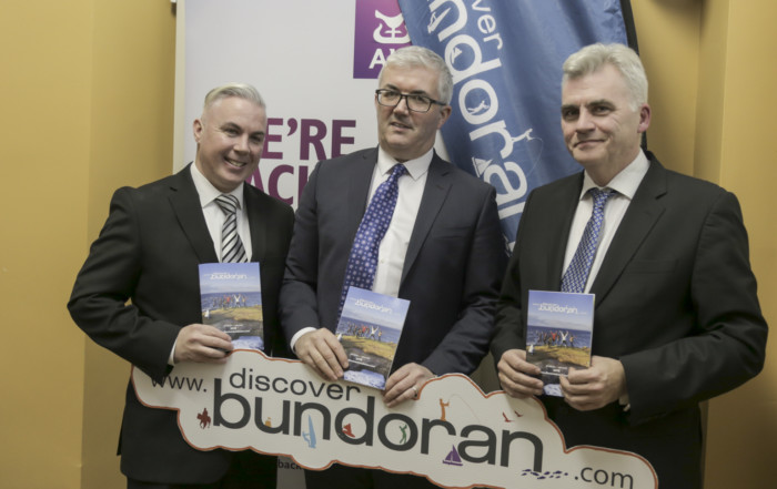 Shane Smyth with AIB's Mark Crawford and Discover Bundoran's John O'Connell - Discover Bundoran new brochure launched