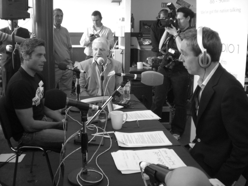 Ryan Tubridy speaks with Richie Fitzgerald and Paul McLoone in 2010 at Bundoran Lifeboat Station