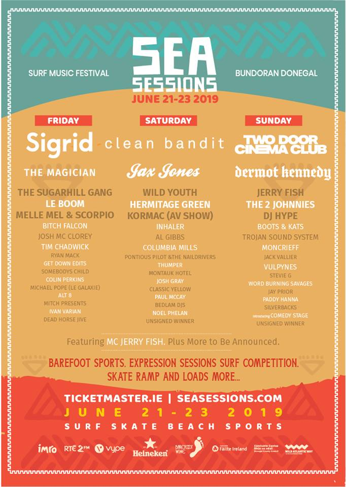 The Sea Sessions lineup poster as of March 26th with Dermot Kennedy
