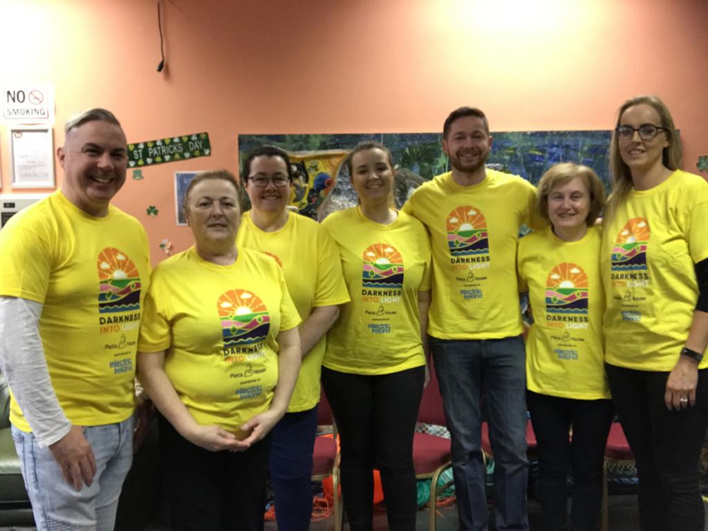 The Darkness Into Light Bundoran Yellow Friday team L-R Shane Smyth, Carmel Mulhern, Rita Chapman, Taralouise McCaughey, Diarmuid McCaughey, Breege Ward & Tanya Dunne