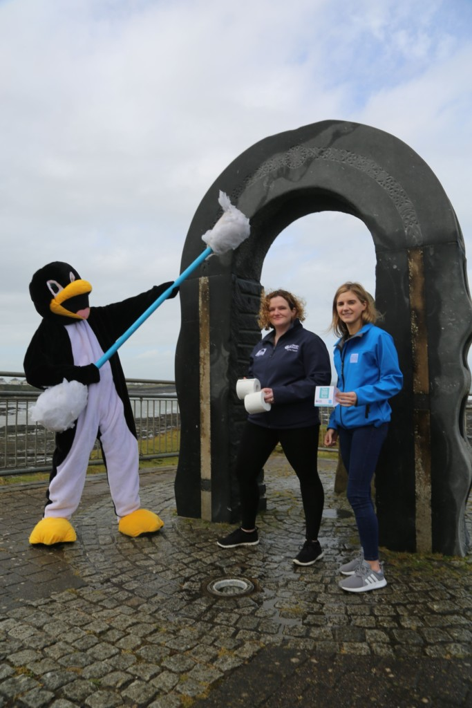 Waterworld's Pippa The Penguin getting behind the Think Before You Flush initiative with Beckey-Finn Britton of Clean Coasts & Katie Durcan of Irish Water - pic Brian O'Droma