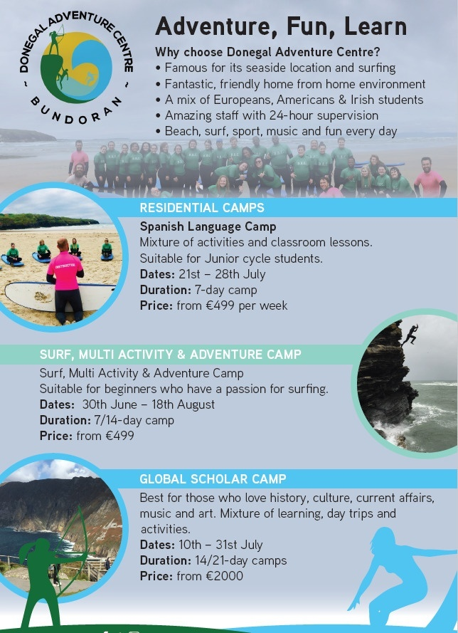 Bundoran Summer Camps - Info on Donegal Adventure Centre summer camp 2019