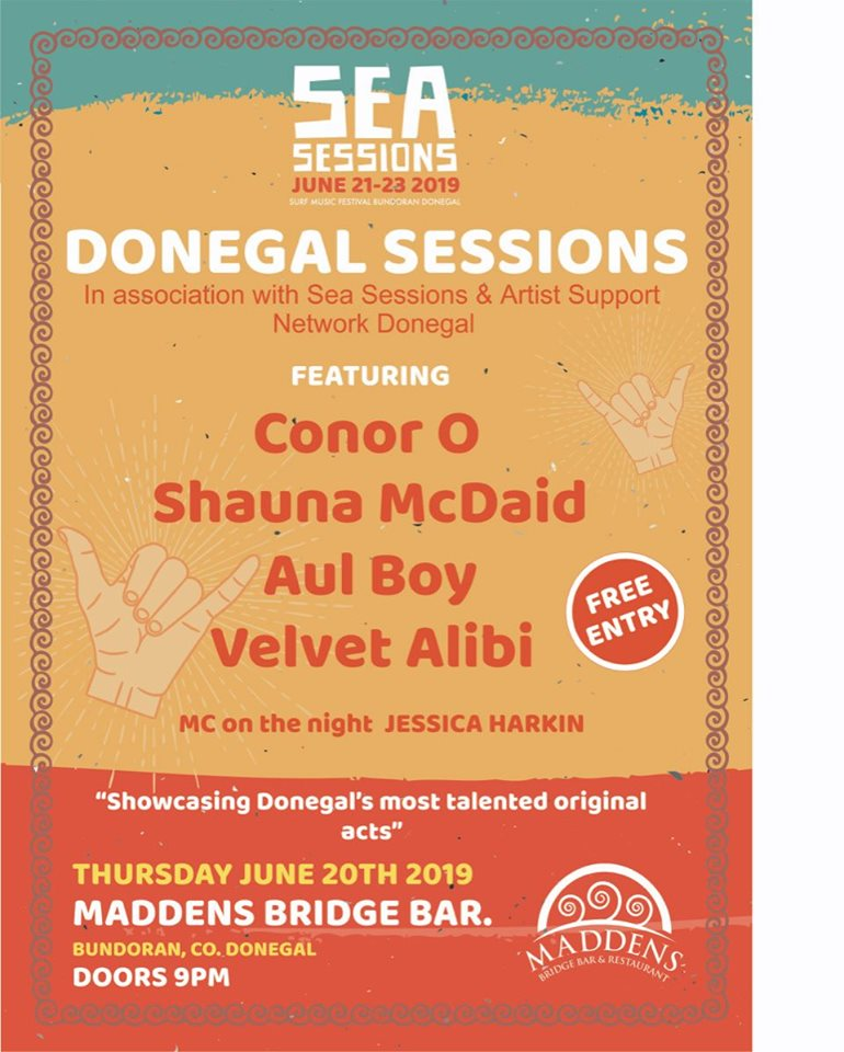 Sea Sessions Bundoran poster lineup for Donegal Sessions at Madden's Bridge Bar