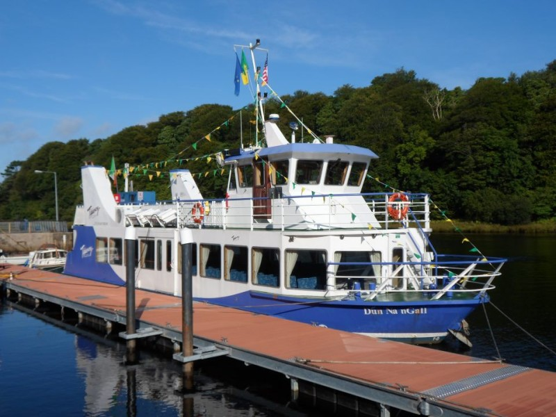 picture shows the Donegal Bay Waterbus docked at a jetty