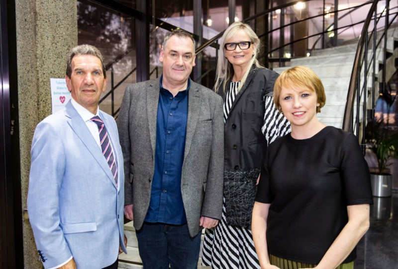 Francis McManus short story competition winner Stephen O'Reilly with Tom McGuire Head of RTE Radio 1, Dee Forbes Director General RTE and Sinead Crowley