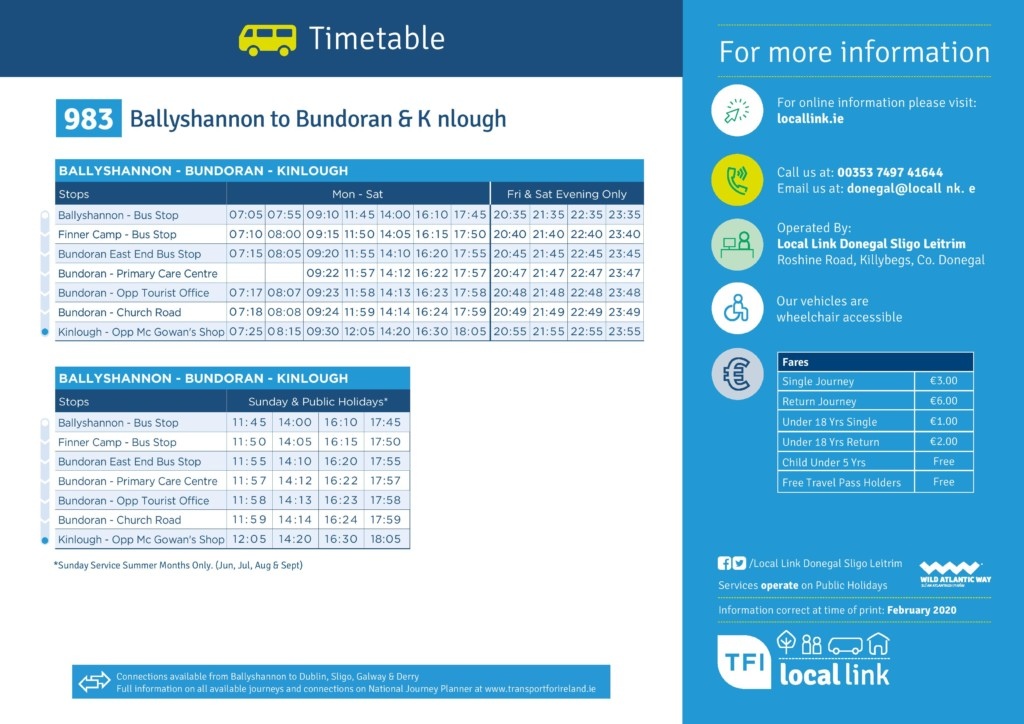 Local Link Timetable Ballyshannon to Kinlough