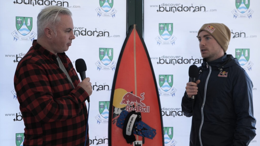 Bundoran Tourism Officer Shane Smyth chats to Conor Maguire